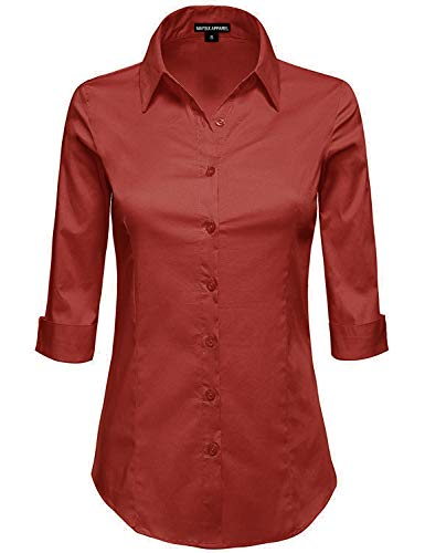 4a0eab8dc71 MAYSIX APPAREL Plus Size Womens 3 4 Sleeve Stretchy Button Down Collar  Office Formal Shirt