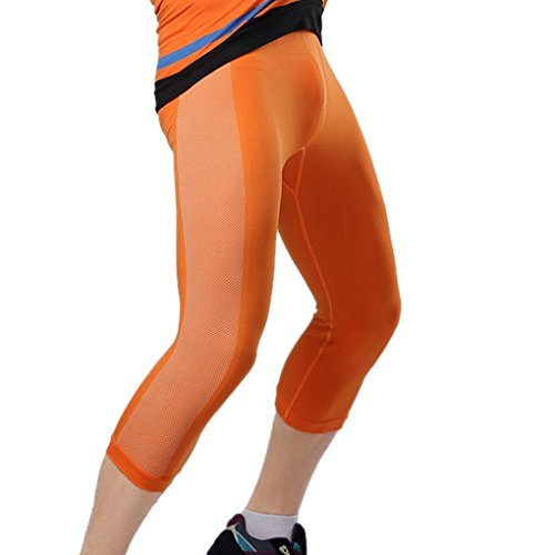 ACME Herren Kompressionsshort Funktionsunterwäsch Compression Base Layer 3/4 Leggings Hose für Sport und Fitness Orange