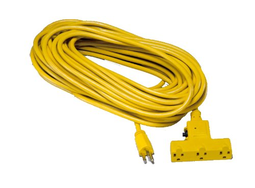 Alert Stamping CST-100T Tri-Tap Outdoor Extension Cord with Circuit Breaker, Yellow, 100-Feet