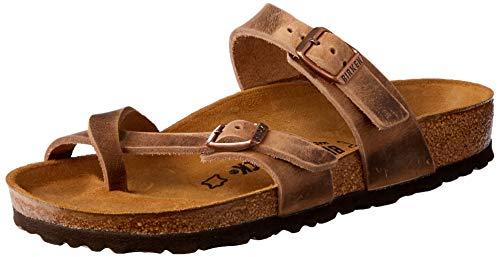 Birkenstock Women's Mayari Adjustable Toe Loop Cork Footbed Sandal Tobacco 39 M EU - Leather Toe Loop Sandals