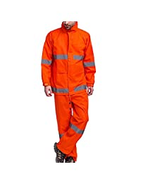 GOGO High Visibility Waterproof Safety Raincoat & Trousers Suit, Meets ANSI Standards-Orange-L