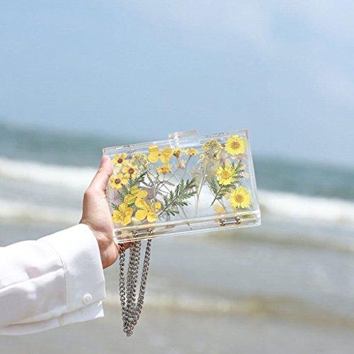 Hojas de 1 Color Chain personalidad flor Bolsa acrílico la mujer Shoulder Bolso Daisy de Box Bag la 03LBS Summer Beach Crossbody Transparent Daisy de de Breeze Sea 470g Plumas la Bag ZwfqOwF