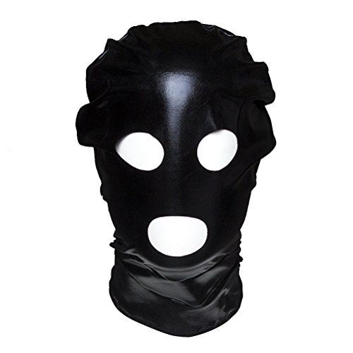 LUOEM Halloween Mask Cosplay Breathable Open Eyes Open Mouth Face Cover Blindfold Mask Unisex Headgear (Black)