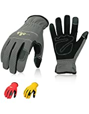 Vgo 3Pairs Nubuck Synthetic Leather Work Gloves (Size M,Red & Grey & Yellow,NB7581)