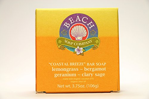 - Certified Organic Bar Soap, Coastal Breeze Scent (Lemongrass and Bergamot essential oils). Made and sold by Beach Organics. 3.75 oz.