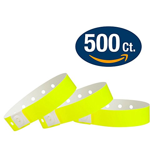 WristCo Neon Yellow Plastic Wristbands - 500 Pack Wristbands For Events