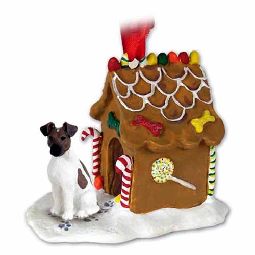 Smooth Fox Terrier Gingerbread House Christmas Ornament Brown-White - DELIGHTFUL! ()