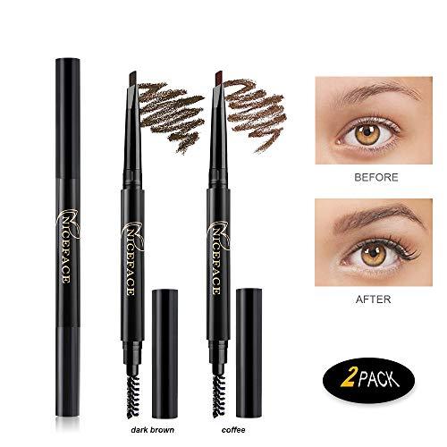 Eyebrow Pencil 2 Packs, NiceFace Waterproof Smudge-proof Automatic Eye Brow Makeup Kit with Eyebrow Brush, Dark Brown & Coffee(set#1)