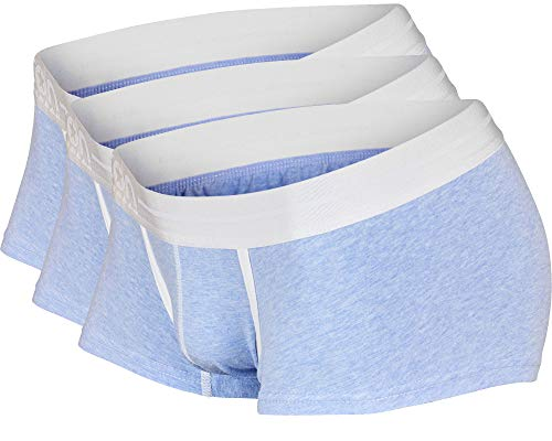 ICON Basewear Low-Rise Boxer Brief Underwear Trunks, Mens, Three-Pack (Sky Blue, Small)