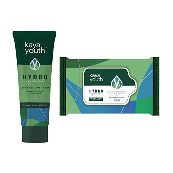 Kaya Youth Hydro Replenish, Lightweight, Non-Sticky Aloe Vera Face and Body Gel 50 g + Face wipes 30 wipes