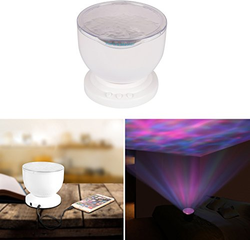 Price comparison product image GPCT [Ocean Wave] LED Ceiling Projection Bed Side Night Light Lamp [Built-In-Speaker] 3 Colors / 12 LED Bulbs Mood Relaxing Decorative Light- Baby / Children / Kids / Infants / Nursery Living Room Bedroom Gift