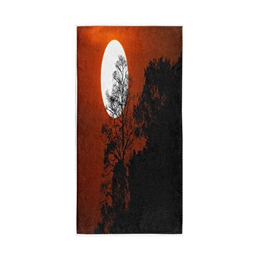 (Pinbeam Bath Towel Halloween Silhouette Trees on Mountain in Spooky Sunset Towel Beach)
