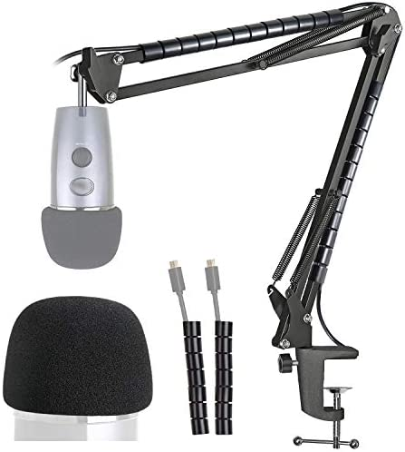 Yeti Nano Mic Stand with Windscreen – Mic Suspension Boom Arm Stand and also Pop FilterFoam Cover Compatible with Blue Yeti Nano Mic by YOUSHARES