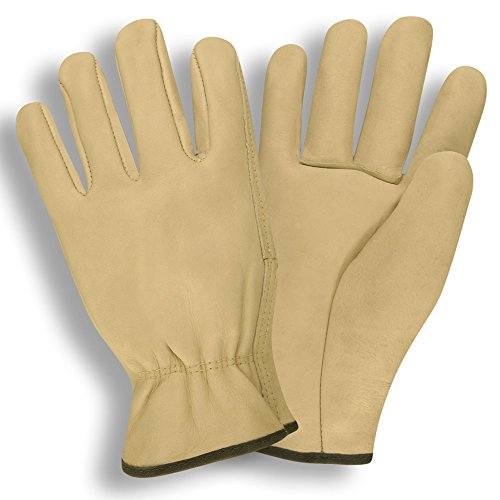 (8201 Standard Grain Driver Leather Driver Cowhide Gloves - 2X Large - Standard grain cowhide driver unlined shirred elastic back straight thumb | 12 Pairs)