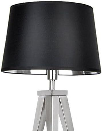 Designer-Lampenschirm-Satin-schwarz-rund-konische-Form Ø 50cm innen Chrom (40 * 50 * 28cm)