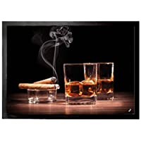 1art1 Alcoholic Beverages Door Mat Floor Mat - Whiskey and Cigars (28 x 20 inches)