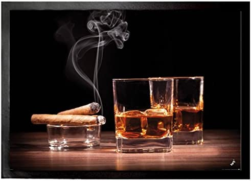 1art1 Alcoholic Beverages Door Mat Design Floor Mat – Whiskey and Cigars 28 x 20 inches