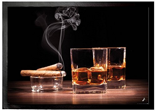 1art1 Alcoholic Beverages Door Mat Floor Mat - Whiskey and Cigars (28 x 20 inches) from 1art1