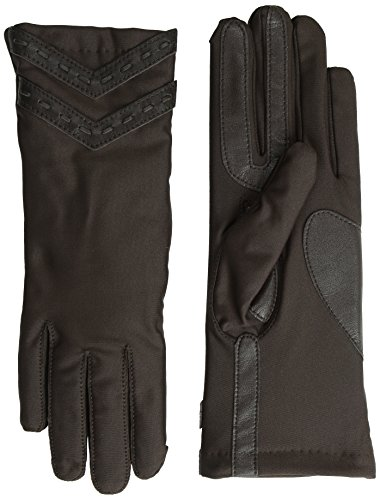 Isotoner Women's Smartouch Thinsulate Spandex Glove with Laced Chevrons, Brown, Medium/Large