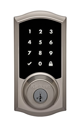 - Kwikset Premis Touchscreen Smart Lock, Works with Apple HomeKit via Apple HomePod or Apple TV, in Satin Nickel