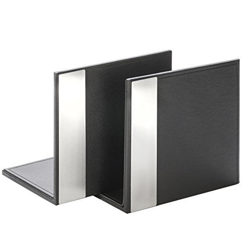 architect-line-leather-like-bookends-pair-black-with-brushed-metal-matching-black-stitching-and-velv