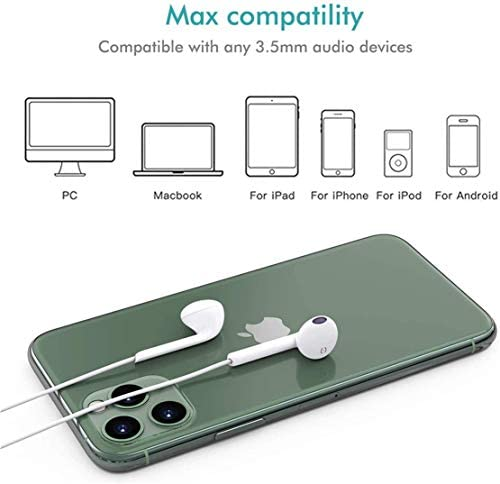 2 Pack-Apple Headphones/Earphones/Earbuds with 3.5mm in Ear Wired Headphone Plug [Built-in Microphone & Volume Control] [Apple MFi Certified] Compatible with iPhone,iPad,iPod,Android,Laptops,MP3/4 41CnxfdXG7L