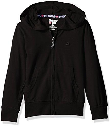 - Limited Too Girls' Long Sleeve Zip Front Jersey Hoodie ,black,7/8