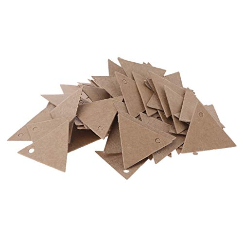 puhoon Gift Tags, 100pcs Vintage Triangle Brown Hang Tags Paper Labels Gift Card Craft Decor, Free Editable Blank for Christmas Wedding Birthday Thanksgiving Gift Ideas, 1.38in (Brown)