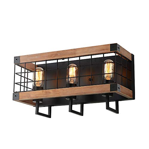 Anmytek Rectangle Wood Wall Lamp with Iron Mesh Cover Industrial Wall Sconce Black Finish Vintage Stylish Bathroom Lighting Log Cabin Home Retro Edison Sconce Lighting Fixtures 3-Lights -