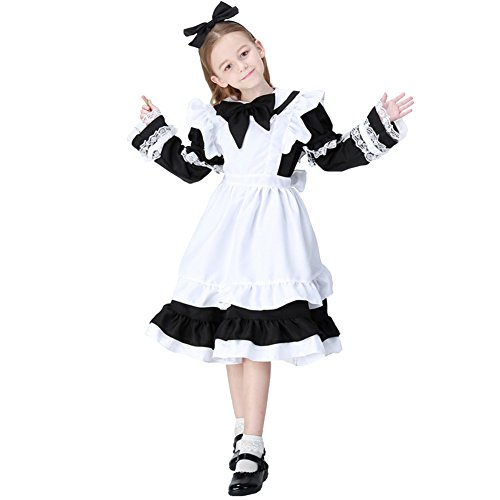 Fisher Woman Halloween Costume (Kids Girls Halloween Costumes Little Maid with Detachable Sleeves and Apron Black L)