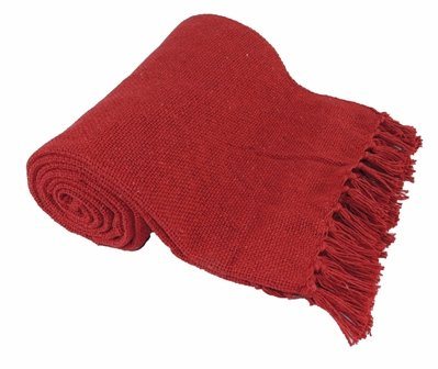 Kakaos Cotton Solid Color Yoga Blankets with Matching Tassels (Red)