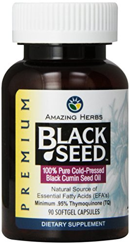 (Amazing Herbs Cold-Pressed Black Seed Oil 500mg Softgels - 90 Capsules)