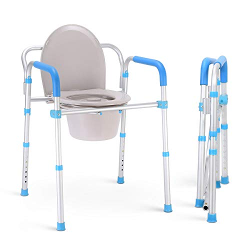 Health Line Aluminum Folding Bedside Commode Chair - Portable 3 in 1 Toilet Bath Shower Seat for Adults Handicap Elderly, Tool-Free Assembly, Adjustable Height, Lightweigt, w/Bucket/Lid/Splash Guard (Elderly Potty Chair)
