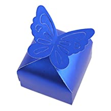 Whitelotous 100 pcs Butterfly Candy Gift Box Wedding Party Festival Favor (Blue)
