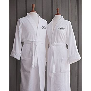 Luxor Linens Egyptian Cotton Terry Robes with Couple's Embroidery - Perfect Wedding Gifts! (His/Hers) in Gift Packaging!