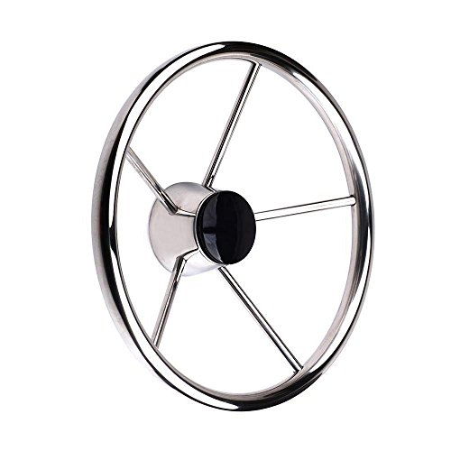 """13-1/2"""" Destroyer Style Stainless Boat Steering Wheel by FUTURUP"""