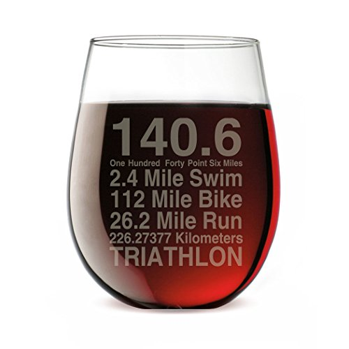 140.6 Math Miles Engraved Stemless Wine Glass | Wine Glasses By Gone For a Run | 15 oz.