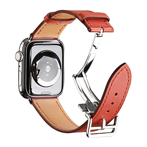 Price comparison product image MChoiceButterfly Buckle Leather Wrist Watch Strap Band for IWatch 4 Apple Watch 44mm (Red)