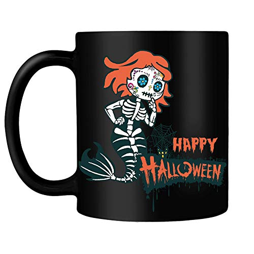 Mermaid Sugar Skull Happy Spooky Halloween Funny gift for Women Girls Daughter Wife Mom Family Niece Black Ceramic Coffee Tea Milk Hot Chocolate Mug Cup -