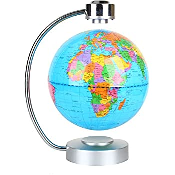 World Map Globe Ball. Floating Globe  Office Desk Display Magnetic Levitating and Rotating Planet Earth Ball with World Amazon com