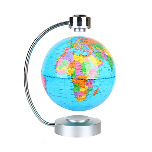Floating Globe, Office Desk Display Magnetic Levitating and Rotating Planet Earth Globe Ball with World Map, Cool and Educational Gift Idea for Him - 8 Ball with Levitation Stand (Blue)