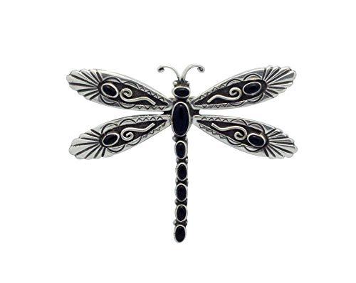 Onyx Dragonfly Pin - Lee Charley, Pin, Pendant, Dragonfly, Black Onyx, Navajo Handmade, 2.5
