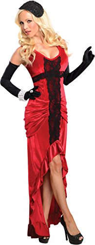 Four Wishes Halloween Costumes (Secret Wishes 30s Jazz Singer Ruched Dress, Red/Black, Small)