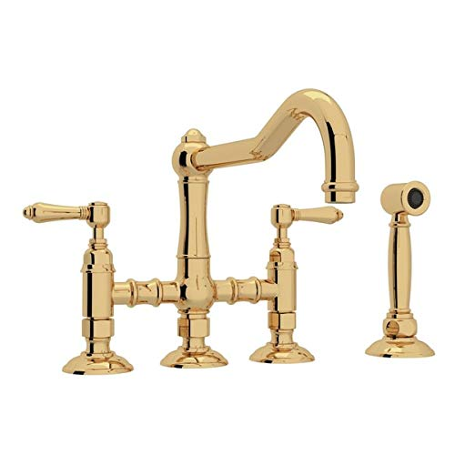 SPECIAL ORDER ONLY NON-CANCELABLE AND NON-RETURNABLE ROHL ITALIAN KITCHEN ACQUI THREE LEG BRIDGE FAUCET WITH METAL LEVERS, SIDESPRAY AND 9