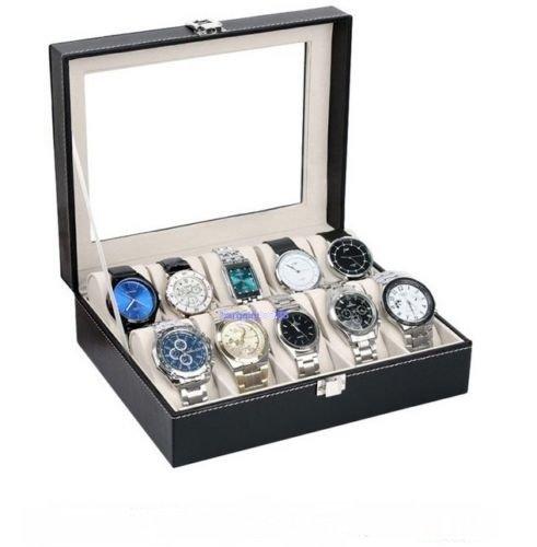 Melbourne Espresso Three Light (Box Storage Display Watch Leather Case Jewelry Organizer Top Glass 10 Slot Black New)