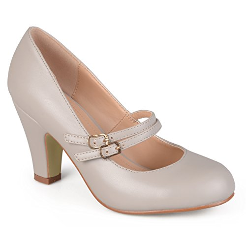 [Journee Collection Womens Matte Finish Classic Mary Jane Pumps Grey 8] (Journee Collection)