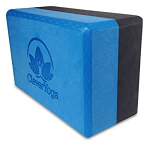 """Clever Yoga Blocks 9""""x6""""x4"""" Exercise Block - The Best Durable Eco Friendly Recycled High Density Foam Block With Our Special """"Namaste"""" (1 Bi-Color Block) (Blue/Gray)"""