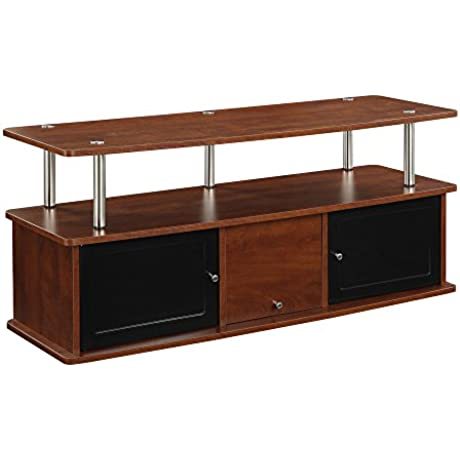 Convenience Concepts Designs2Go TV Stand With 3 Cabinets For Flat Panel TV S Up To 50 Inch Or 85 Pounds Cherry