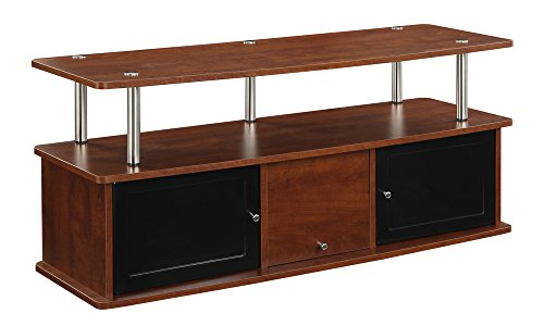 Convenience Concepts Designs2Go TV Stand with 3 Cabinets for Flat Panel TV's Up to 50-Inch or 85-Pounds, Cherry -