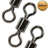 Croch 60Pcs #1 104LB Rolling Barrel Swivels Stainless Steel Black Nickel